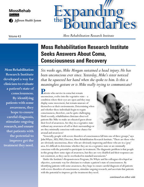 Newsletter for MossRehab Research Institute.