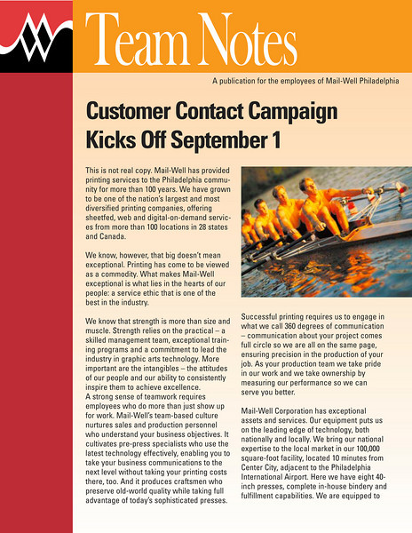 Employee newsletter design to go with company branding campaign.