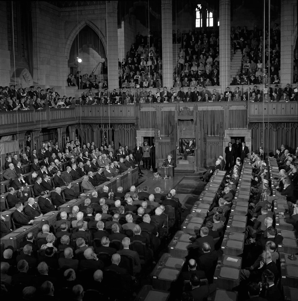 President John F Kennedy in House of Commons May 1961 Library and Archives Canada, photographer Ted Grant.