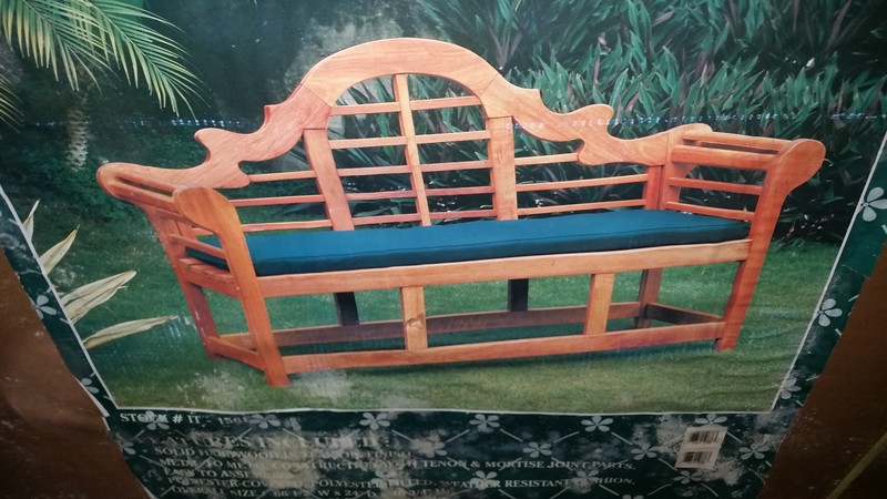 Garden bench ....unassembled.. picture on the box
