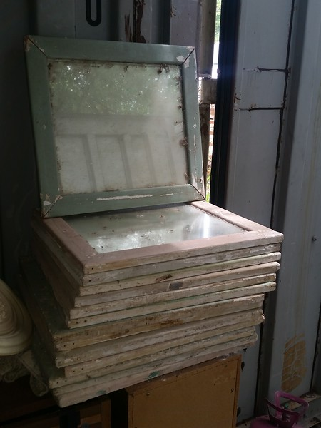 "14 framed mirrors - none of them are cracked.. Just dirty... not foggy....came from a motel that was being torn down on South Lamar about 50 years ago. My mom bought about 50 or 60 of them. This is all that's left. GREAT ""weird decor"" theme..! !"