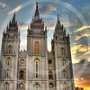 Temple Square - An amazingly different place , an entirely new world within the downtown of Salt Lake City, UT. One beautiful evening with a wonderful sunset - Lush gardens, serene pond, water fountains, iron cast statues - the list goes on ...