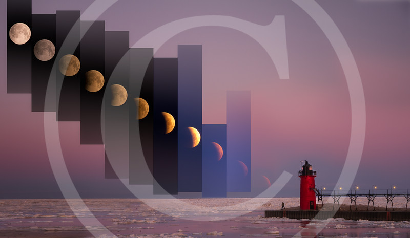 Lunar Eclipse by the Lighthouse