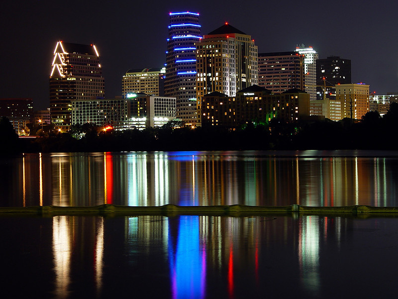 Austin Texas - Town Lake Reflection<br /> <br /> The Austin Skyline creates a magnificent reflection onto Town Lake on a summer evening.