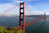 San Francisco Bay - San Francisco California<br /> <br /> San Francisco is glimpsed through the supports of the Golden Gate Bridge.