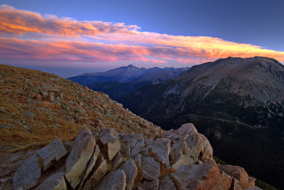 """""""Mountain Sunset""""  Rocky Mountain National Park, CO  The sunsets along the Trail Ridge Road in Rocky Mountain Park can be truly amazing in the Fall. Technical Details: Shot with a Canon 5dMk2 and 20mm lens."""