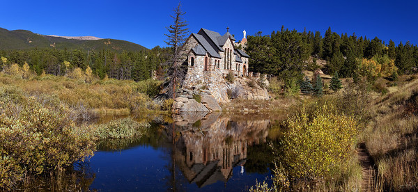 """""""Chapel""""  Estes Park, CO  This beautiful chapel is located just North of Estes Park, Colorado.  In the Fall the colors really explode.BR> Technical Details: Shot with a Canon 5dMk2 and 20mm lens."""