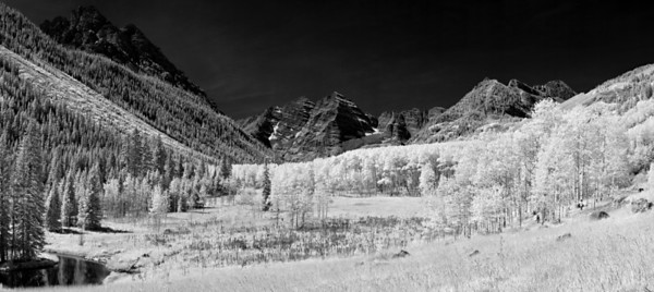 """""""Aspen Valley""""  Maroon Bells National Recreation Area, CO  I really love how infrared light changes the dynamics of a scene.  Plants glow bright white, and non reflective sources turn black.  This creates a beautiful contrast in a scene.  I converted this to Black and White, as I feel it works well with an infrared scene.  Technical Details: Shot with an IR modified Canon 10D and Canon 50mm lens at F22, 1/60  seconds and ISO 100.  Mosaic image created from 23 source images."""