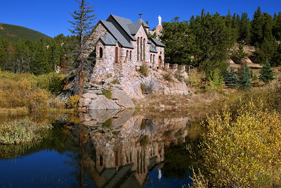 """""""Chapel""""  Estes Park, CO  This beautiful chapel is located just North of Estes Park, Colorado.  In the Fall the colors really explode. Technical Details: Shot with a Canon 5dMk2 and 20mm lens."""
