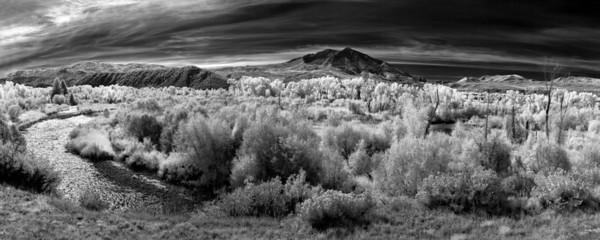 """""""Colorado Infrared Dreams""""  Carbondale, CO  I really love how infrared light changes the dynamics of a scene.  The light here was overcast, and pretty flat.  However, using an infrared filter, everything changes.  I converted this to Black and White, as I feel it works well with an infrared scene.  Technical Details: Shot with an IR modified Canon 10D and Canon 50mm lens at F22, 1/60  seconds and ISO 100.  Mosaic image created from 23 source images."""