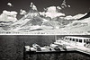 The Many Glacier tour boat waits for the next group of riders in this infrared image from Glacier National Park, Montana.