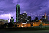 Lightning Storm over Dallas, Texas (2004) - This was shot from right in front of Reunion Arena.  An intense storm had swept down from Oklahoma and passed through Dallas, leaving this incredible lightning display in it's wake.  You can actually see the Argon tubes in the green building that were knocked out during the storm!