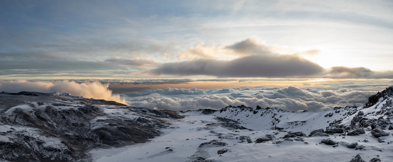 Sunrise from the summit of Mount Kilimanjaro, Uhuru Peak 19,341 ft.