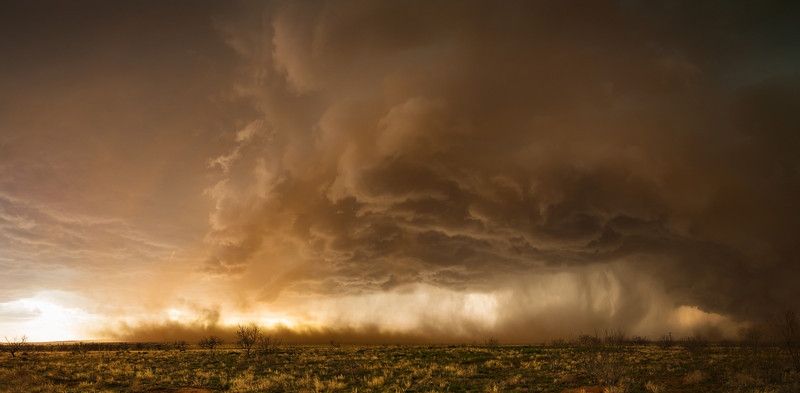 """Like Another Planet"" <br><br> Western Texas <br><br> What a wonderful chase this was!  This particular image was shot after we had driven through a solid wall of outflow driven dust.  When we emerged from the other side the setting sun and dust created an unworldly looking scene..<br><br> Technical Details: Shot with Canon 6d and Canon 24-105Lmm lens at F10 and 1/60.    Panorama created from 10 vertical bracketted shots."