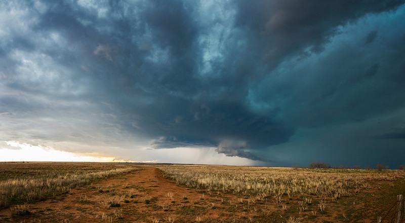 """Western TX Supercell"" <br><br> Quanah, TX <br><br> One of my favorite hobbies after photography is storm chasing.  Experiencing the power and beauty of thunderstorms is something that is really hard to translate into images.<br><br> Technical Details: Shot with Canon 6d and Canon 24-105mm lens at F10 and 1/8.    Panorama created from 10 vertical shots."