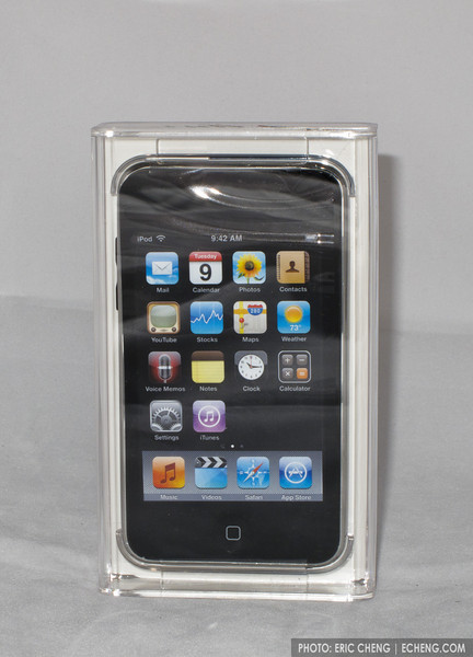 IPod Touch 3rd generation 64GB with dock adapter, USB charging cable, unused earphones.
