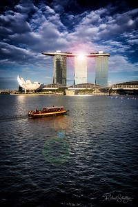 Marina Bay Sands and Harbor Boat