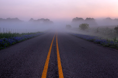"""Into the Fog""  Prairie Mountain, TX This road is located deep in Central Texas near the town of Prairie Mountain.  On this particular morning the fog lifted just enough to allow the sunrise to filter through and create some incredible pastel scenery. Technical Details: Shot with Canon 5d MK2 and Canon 24-70mm lens."