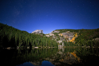 """""""Bear Lake under the Stars""""  Rocky Mountain National Park, CO  It's amazing how much detail modern cameras can capture when the full moon is out!  In this shot, the moon was rising over my left shoulder, illuminating the scenery in a beautiful light.  The stars were amazing due to the lack of clouds, adding to the scene.  Technical Details: Shot with Canon 5D Mk2 and Canon 20mm lens at F2.8, 20 seconds and ISO 3200."""