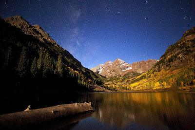 """The Bells Under the Moon""  Maroon Bells National Recreation Area, CO  It's amazing how much detail modern cameras can capture when the full moon is out!  In this shot, the moon was rising over my left shoulder, illuminating the scenery in a beautiful light.  The stars were amazing due to the lack of clouds, adding to the scene.  Technical Details: Shot with Canon 5D Mk2 and Canon 20mm lens at F2.8, 20 seconds and ISO 3200."