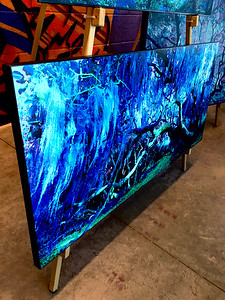"$360...44""x 20""...80_2245 Sapphire...canvas on masonite"