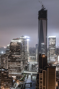 One World Trade Center during Hurricane Sandy