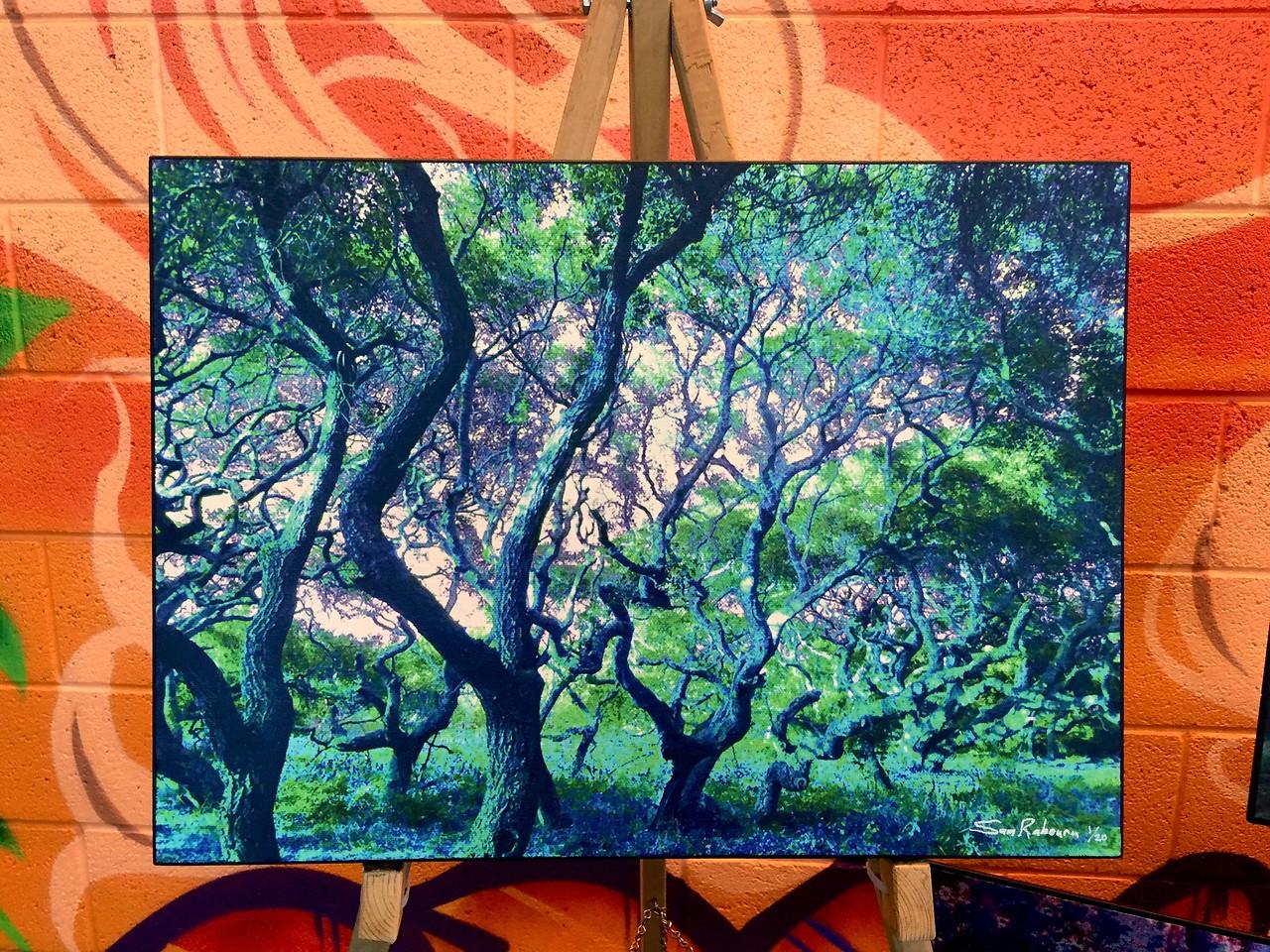 "$150...18""x 13""...87_3876 Light Sapphire...canvas on masonite"