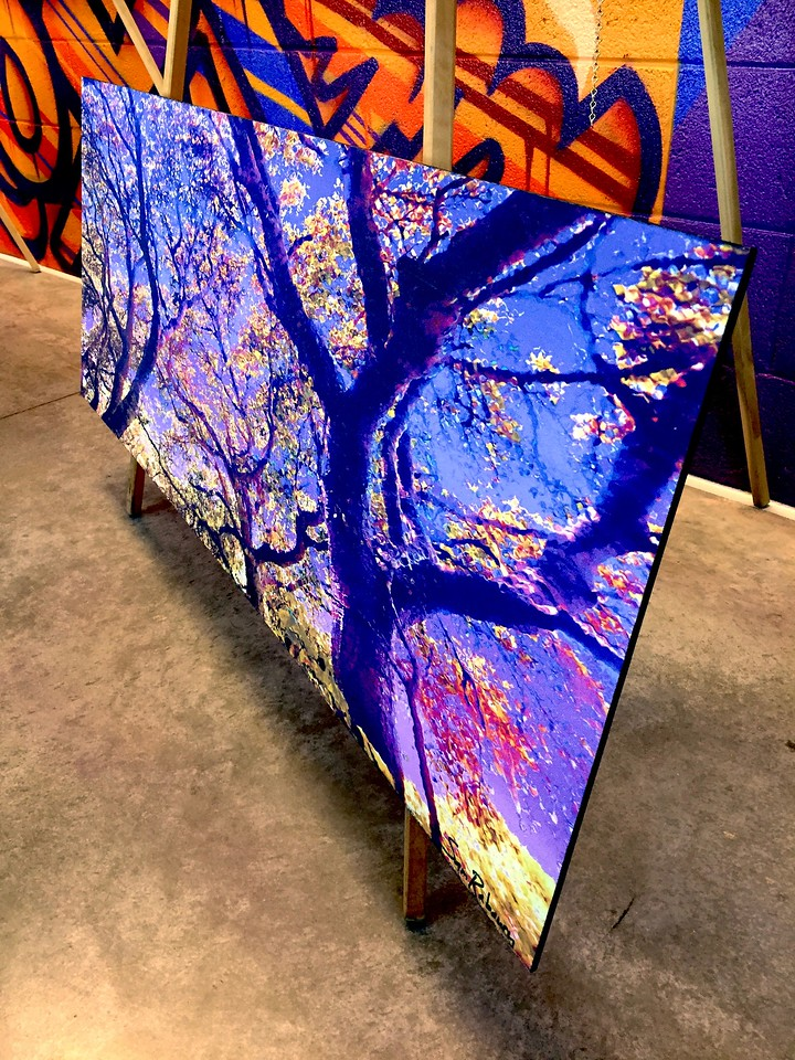 "$320...47""x 18""...83_2968 Sapphire Gold...fabric on masonite"