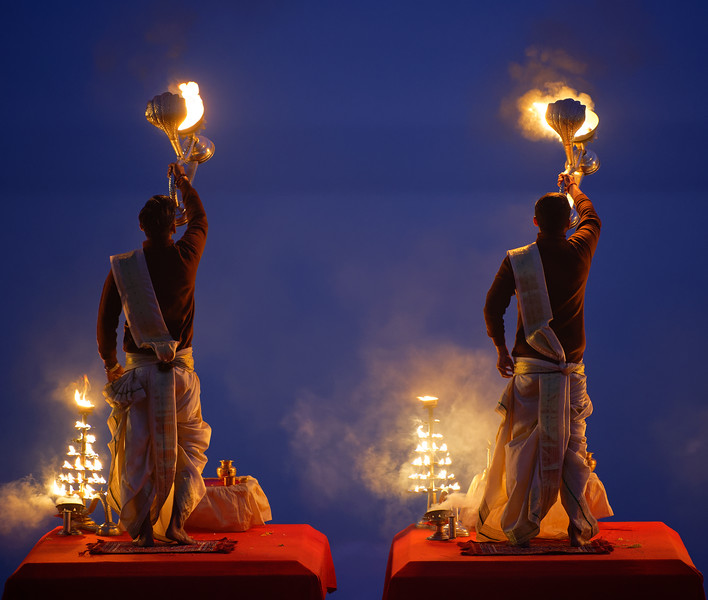 Ganga Aarti at Sunrise, Assi Ghat, Varanasi, India