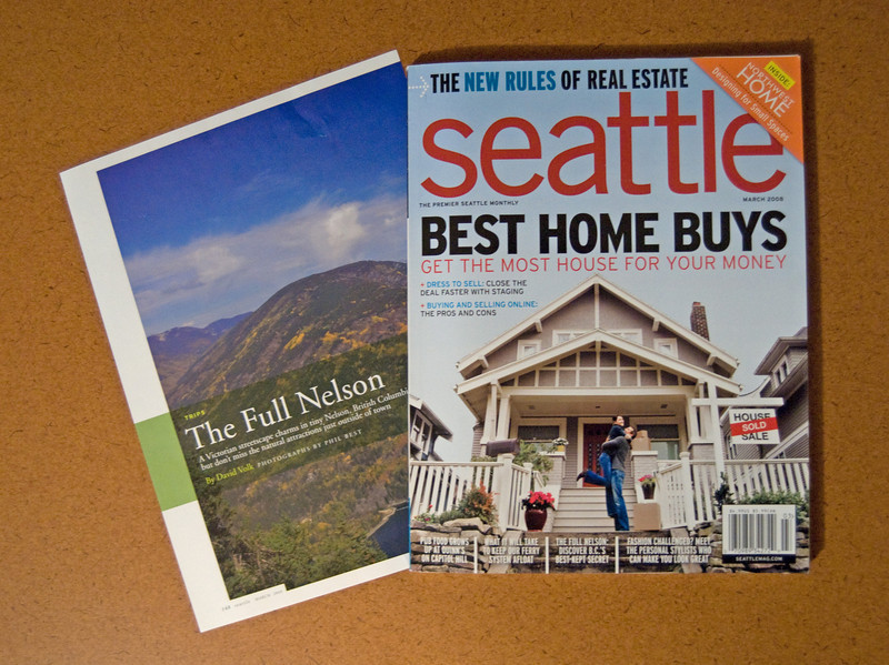"SEATTLE MAGAZINE - Twelve photos from BEST PHOTOS for a 6 page comprehensive spread about fabulous getaways escape towns in the March 2008 article ""The Full Nelson"""
