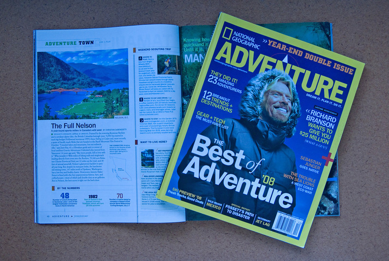 NATIONAL GEOGRAPHIC ADVENTURE - Feature photo for the Adventure Town - The Full Nelson article in the June/July 2007 issue.
