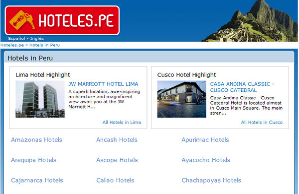 "<a href=""http://www.hoteles.pe/en/"">HOTELS IN PERU</a>  -  HOTELES.PE offers the best selection of hotels in the most important cities of Peru, including Cusco, Lima, Chiclayo, Iquitos, Huancayo and much more!"