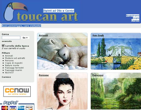"""<a href=""""http://www.toucanart.com/it"""">DIPINTI</a> - La nostra ricca collezione d'arte include molti stili d'arte, dal classico all'astratto, passando per l'impressionismo, art deco, cubismo, surrealismo e naturalismo."""