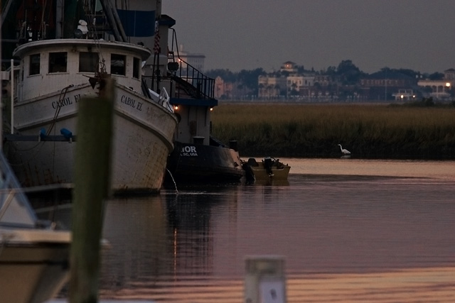 This made the finals on FM.  Very Charleston.  I recognize the skyline, plus the shrimp boat in the foreground, plus the tiny egret, plus the light, plus it made the finals on FM.  smile