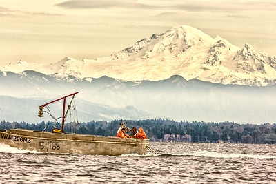 Crabbers off Birch Bay with Mt. Baker