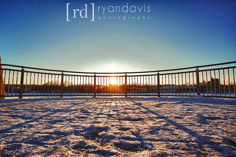 The first sunrise of 2013 over downtown Rockford, IL. Take from the Rockford Riverwalk at Riverfront Museum Park. Photo by Rockford photographer Ryan Davis.