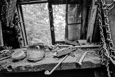 Inside abandoned shed near Misery Bay, MI