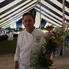 Flowers just picked by Zane Holmquist. The perimter of this tent is where the chefs will display their specialties tonight. This is at 2PM.