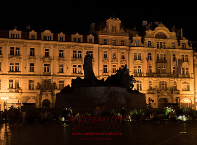 Jan Hus Memorial at Night