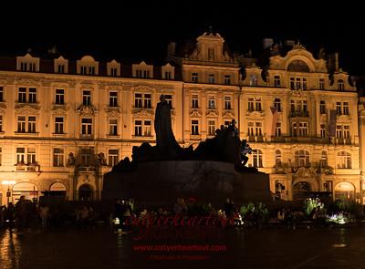 Jan Hus Memorial at Night