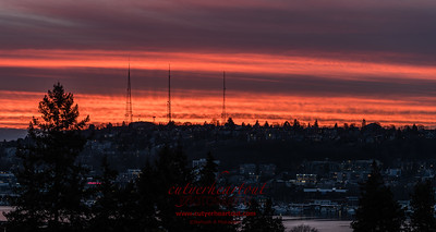 Another shot from yesterday's sunset.  Over Queen Anne Hill.