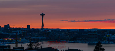Sunset over Seattle has so many moods.  Used a long exposure to give this ethereal effect.