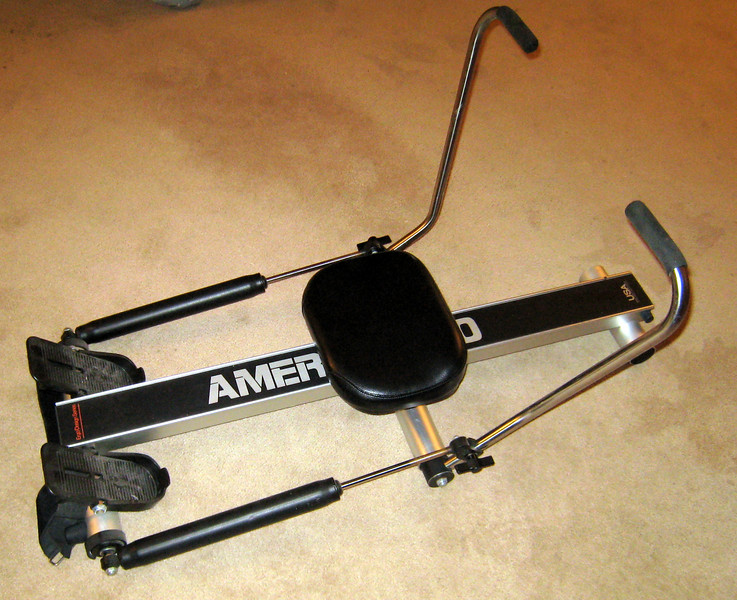 3/4 view showing the Amerec Rowing machine.