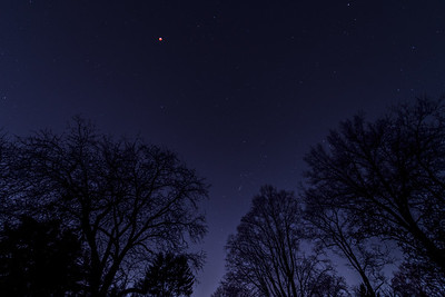 Wide angle of the blood moon in sight of Orion.