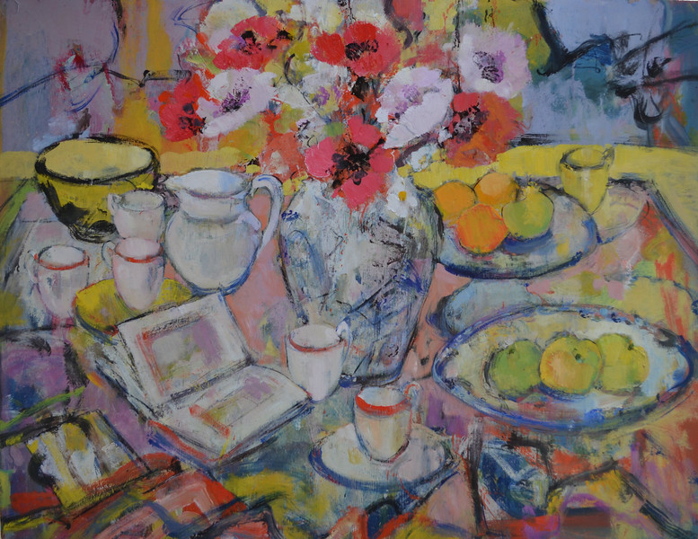 Still Life with Yellow and Black Bowl with Red and Pink Poppies, 48 x 36, Oil on Board