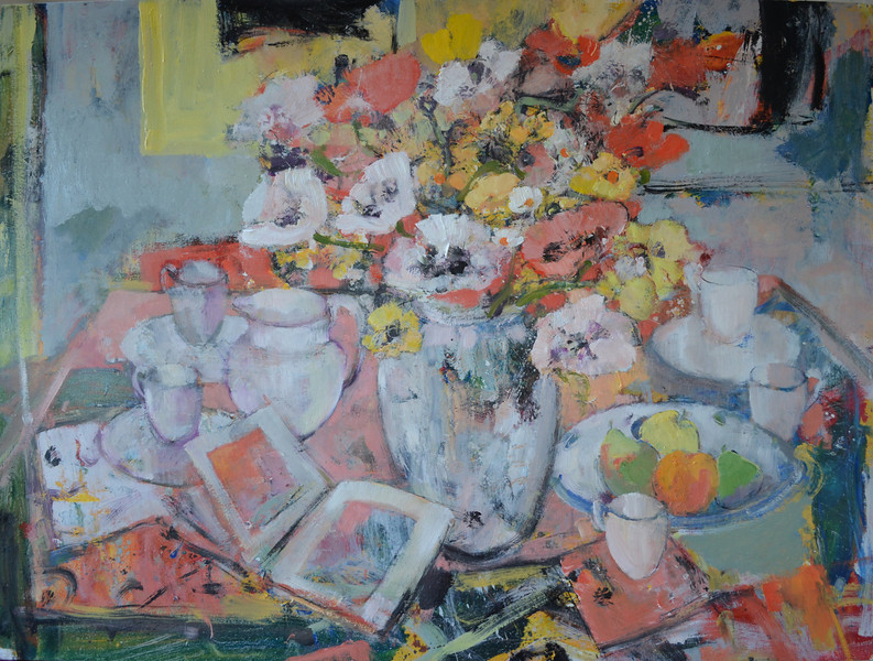 Still Life with Red & White Poppies and White Jug, 48 x 36, Oil on Board.