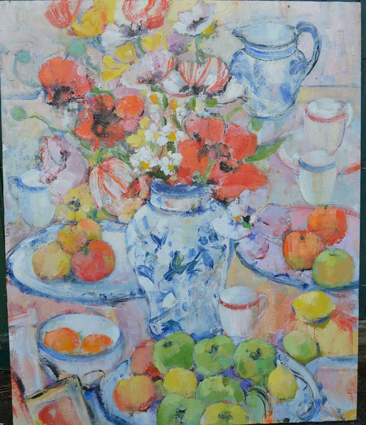 Still Life with Poppies and Windfall Apples. 30 x 36.