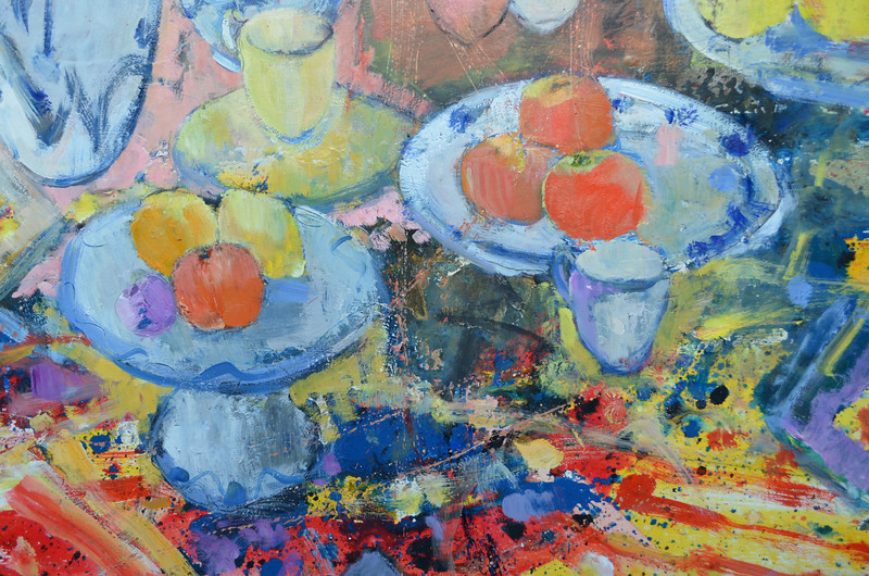 Still Life with Clarice Cliff Bowl with Red and Pink Poppies, Detail
