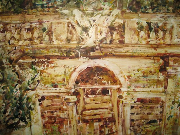 Peter McLaren, Homage to Velasquez, Villa de Medici (detail) Watercolour