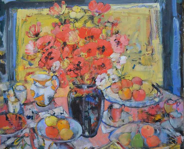 Still Life with Black Vase, Poppies and Clarice Cliff Jug, Detail 48 x 48, Oil on Board, £10,000